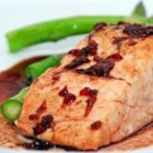 Salmon with Raspberry Ginger Glaze - Salmon fillets are baked with a lemony raspberry-ginger glaze just until tender, then broiled until browned for a sweet and tangy main dish with wonderful color and flavor.