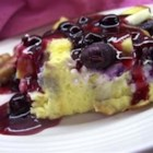 Blueberry French Toast - Rich and creamy baked blueberry French toast with a special blueberry sauce.