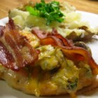 Alice Chicken - Marinated chicken breasts broiled with bacon and cheese, then served with sauteed mushrooms and honey mustard dressing. Fantastic way to broil chicken that adds that 'extra something!'