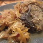 Goose and Kraut - A great way to prepare wild goose after the hunt. A goose is roasted and then the meat is removed to simmer with sauerkraut, applesauce, potatoes and brown sugar in a slow cooker. Serve with mashed potatoes for a perfect meal.
