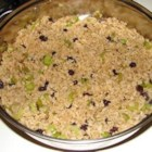 Raisin and Spice Brown Rice - This brown rice pilaf is seasoned with onion, celery, raisins, fresh ginger, cumin, coriander, black pepper, and soy sauce.