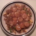 Easy Shrimp Dinner - Boiled shrimp in a thick oriental-style sauce with snow peas, green onions, tomatoes and soy sauce.