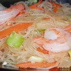 Pancit - This is a recipe I got from a family from the Philippines. Rice noodles are pan-fried with chicken, pork, shrimp, cabbage and carrots.