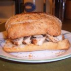 Gourmet Chicken Sandwich - Sauteed chicken breasts topped with a mayonnaise/mustard/rosemary spread and graced by 2 slices of garlic rosemary focaccia bread. These sandwiches are great when you want a quick supper, but not something from the freezer.  They remind me of an expensive sandwich from an upscale deli. The spread and the chicken can be made in advance, and the chicken can be eaten hot or cold.
