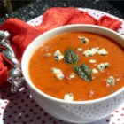 Cream of Tomato Gorgonzola Soup - Transform a can of tomato soup into a very special meal by stirring in crumbled Gorgonzola, chopped tomatoes, and some savory seasonings.