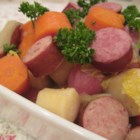 Polish Sausage Soup - New potatoes are simmered with onion, celery, carrots and kielbasa in this simple soup.