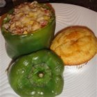 Feta and Turkey Stuffed Green Peppers