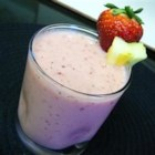 Strawberry-Pineapple Smoothie - Pineapple and strawberries blended in a mixture of yogurt, milk, and ice makes a great-tasting smoothie.