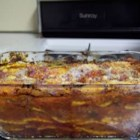 Lazy Lasagna II - A simple version of lasagna using cheese ravioli, browned beef, onion and plenty of mozzarella cheese.