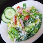 Russian Garden Salad - This traditional Russian salad coats a mixture of romaine lettuce, tomatoes, cucumber, and onion with sour cream.
