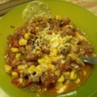 Texas Taco Soup - Ground beef is browned then combined with onions, pinto beans, diced tomatoes and green chiles, corn, crushed serrano peppers, taco seasoning and ranch dressing mix in this spicy, easy soup.