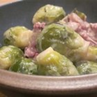 Kielbasa with Brussels Sprouts in Mustard Cream Sauce - The saltiness of the kielbasa combined with the bitter, gentle crunch of the Brussels sprouts and the mildness of the beans is well-balanced perfection.