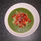 Puree of Green Things Soup with Quinoa and Pepper Relish - Broccoli is the main flavor of this soup, complemented by a topping of quinoa and pan-grilled red pepper with lime juice. This can easily be made vegetarian by using vegetable broth instead of chicken broth.