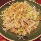 Napa Cabbage Salad - This is a yummy, crunchy cabbage salad with toasted ramen noodles and almond slivers. The bowl is always licked clean at potlucks!