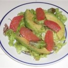 Grapefruit and Avocado Salad   - A beautiful salad of red grapefruit sections with green avocado slices is served drizzled with a citrus and honey dressing.