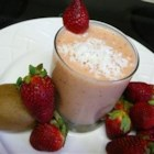 Crazy Fruit Smoothie - This smoothie has banana, kiwi, strawberries, pineapple, and cream of coconut.