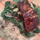 BBQ Salmon over Mixed Greens - Barbecued salmon fillets served with a homemade vinaigrette dressing on a bed of mixed greens. This recipe is full of flavor and color and will impress your friends.