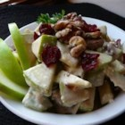 Apple Walnut Salad - Apples, walnuts, and cranberries in a creamy sauce make an excellent side dish for Thanksgiving or Christmas dinners!