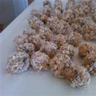Apricot Balls - Minced dried apricots are combined with brown sugar, coconut and condensed milk in these no-bake balls.