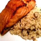 Spicy-Sweet Glazed Salmon - An easy-to-make marinade enhances broiled salmon with the sweet-spicy flavors of brown sugar, soy sauce, olive oil, lemon juice, red pepper flakes, garlic and onion powders, and fresh cilantro.