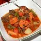 Mom's Portuguese Beef Stew - This beef stew includes red potatoes, sweet potatoes, onion, carrot, green bell pepper, and canned green beans.