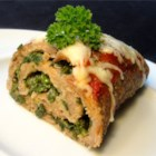 Turkey Pinwheel - Ground turkey makes a tasty rolled meatloaf with Italian flavors and a surprise filling of cheese and spinach.