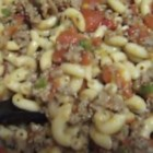 Canadian Style Chop Suey - Macaroni, sausage, onion, bell pepper, mushrooms and stewed tomatoes make a hearty combination.