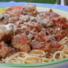 Family Sicilian Sauce and Meatballs - My Mother's family originally came from Sicily and every family member makes his or her own version - this version came most recently via Brooklyn.  Use your favorite meat and Italian red wine for this sauce and serve with your favorite pasta. This also is a great pizza sauce if you leave out about half of the meat.  If there are any leftovers, they freeze very well. MANGIA!