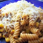 BBQ Chili Pasta - If you've got a hankering for an eye-opening pasta sauce, try this spicy simmer of onion, ground turkey, bell pepper, canned corn, chili powder, oregano, tomato sauce and BBQ sauce. You can make it as mild or as wild as you wish!