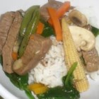 Sukiyaki Beef - Strips of beef are stir-fried with onions, celery and mushrooms.