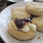 Cream Scones - Scones are a kind of sweet biscuit. They are very common in the United Kingdom. Here is a pretty good recipe that I made after a lot of trial and error. These are quite easy. You can add a bit more sugar if you want. These taste awesome with grape or blackberry jelly!