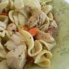 Quick and Easy Chicken Noodle Soup - Egg noodles, carrots, celery, and chicken are simmered in broth seasoned with basil and oregano. Chicken noodle soup in 30 minutes!