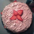Strawberry Cake II - A beautiful cake for the strawberry lover. Easy to make with packaged gelatin and white cake mix. Fresh strawberries can be used when they are in season.
