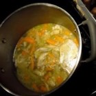 Chicken Stock - Slices of fresh ginger and bay leaves season this chicken stock to use as a base for soups and sauces.
