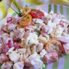 Orzo Ham Salad - Cubed ham, orzo pasta, green bell pepper, and cherry tomatoes are tossed with a creamy dressing. Make over your leftover ham with this delicious pasta salad.