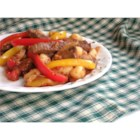 Aussie Beef and Peppers with Gnocchi - Gnocchi and tender beef strips are tossed with tomatoes, bell peppers, and mushrooms for a classic meal from Down Under.