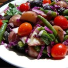 Veggie Potato Salad for a Crowd - Red potatoes, green beans, and red cabbage tossed with a fresh mustard dressing make for a tempting salad that feeds a crowd!