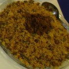 Lubia Polo (Green Bean Rice) - Lubia Polo is a one pot Persian dish with rice, ground beef, green beans, tomato sauce and curry.