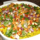 Easy Curry Couscous - This recipe is a perfect accompaniment to lamb chops or any grilled seafood. It's light and refreshing and very easy to make!
