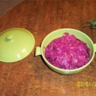 Danish Christmas Red Cabbage - In Denmark it is traditional to serve a cooked pickled red cabbage for the Christmas Eve dinner. This is my mother's, and it is so easy to make and will be a great sidedish to any roast duck, turkey or goose. When reheating, I like to add a tablespoon of black currant jam to enhance the flavor.