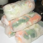 Fresh Spring Rolls - These little veggie and shrimp filled wraps are a real hit at parties! Serve them with a spicy dipping sauce.