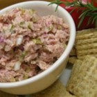 Ham Spread - This recipe uses leftover ham with onion and dill pickle relish for a delicious sandwich spread or dip for crackers.  You can substitute 10 green olives with pimentos for the dill pickle relish.