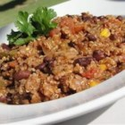 Quinoa Chili - Quinoa and corn kernels add even more body to this black been and beef chili.