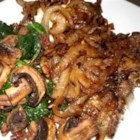 Liver and Onions - Caramelized sweet onions enhance the flavor of thinly sliced, quickly sauteed liver. Add crisply fried bacon bits for variation.