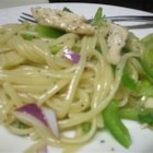Chicken Poppy Seed Pasta Salad - Grilled chicken, chopped romaine lettuce, vegetables, and cooked linguine pasta make a delightful warm salad for the homemade sweet and tangy poppy seed dressing.
