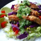 Spicy Southwest Chopped Salad with Salsa Verde - Spicy, grilled chicken breasts are dressed with a tomatillo and cilantro sauce in this tasty summer salad.