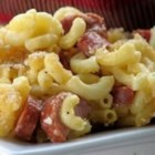 Cheese's Baked Macaroni and Cheese - Homemade macaroni and cheese, baked with sliced kielbasa sausage, makes a warming weeknight supper.