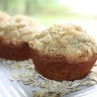 Peanut Butter Banana Muffins - Chewy banana oat muffins with an easy streusel topping.