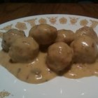 Meatballs and Sauce - Meatballs marinated overnight in a savory sauce, then reheated just before your party!