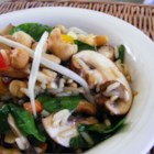 Eastern Rice Salad - A very tasty soy sauce dressing is poured over chilled, cooked rice and lots of veggies  - spinach, bean sprouts, mushrooms, peppers, green onions, celery. And lest we forget, a generous sprinkling of cashews. Serves twelve.